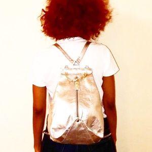 Authentic Versace Metallic Silver Medusa Backpack